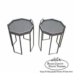 Quality Pair Of Chrome Glass Octagon Side Tables
