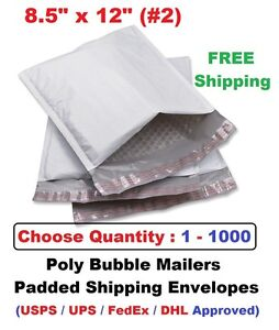 2 8 5x12 Poly Bubble Mailers Padded Shipping Envelopes Bags 1 10 25 50 100 1000