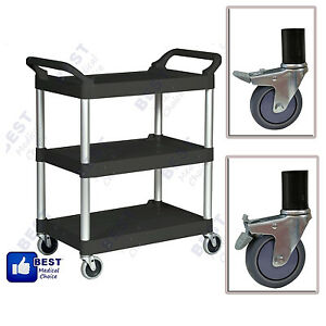 Commercial Black Three Shelf Utility Cart Bus Cart Kitchen Hotel Janitorial