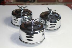 Mushroom Louvered 2 Barrel Low Profile Air Cleaners 3 Wing Nut Hot Rat Rod T