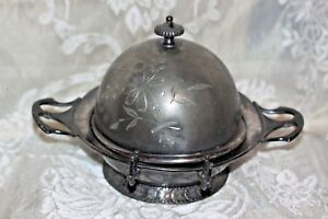 Antique Barbour Silver Plate Dome Floral Butter Dish Engraved