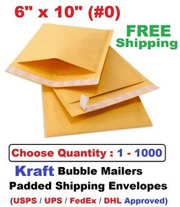 0 6x10 Kraft Bubble Mailers Padded Shipping Envelopes 1 5 10 20 25 50 100 1000