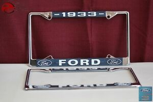 1933 Ford Car Pick Up Truck Front Rear License Plate Holder Chrome Frames New