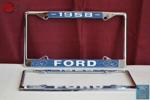 1958 Ford Car Pick Up Truck Front Rear License Plate Holder Chrome Frames New
