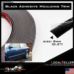 10ft 8mm Black Car Decorative Moulding Trim Strip Adhesive Taillight Grills