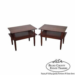 Willett Mid Century Pair Of Solid Cherry End Tables
