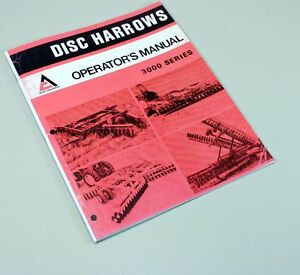 Allis Chalmers 3100 3200 3300 3400 Disc Harrow Owner Operators Manual With Parts