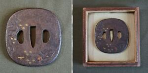 Very Fine Japanese Edo Period 18 19th Century Gold Inlay Tsuba In Box
