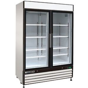 New Maxx Cold Double Glass Door Reach in Cooler 54 Mxm1 48r Free Shipping