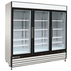 New Maxx Cold Triple Glass Door Reach in Cooler 81 Mxm1 72r Free Shipping