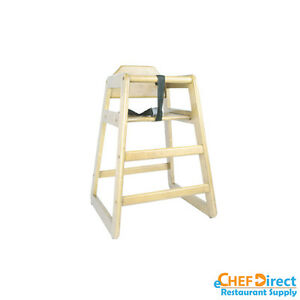Restaurant Wooden High Chair Child Seat With Seat Belt Natural Finish