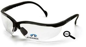 Lot Of 3 Safety Glasses Pyramex V2 Readers 3 0 Clear