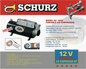 12v Dc Truck Pickup On Board Air Compressor For Air Horn With 3 5 Liter Tank
