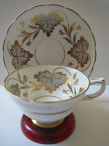 Grosvenor China Rosslyn Gold And Silver Grey Teacup And Saucer