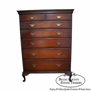 Danersk Antique 1920s Custom Made Walnut Queen Anne Tall Chest W Dovetailed Case