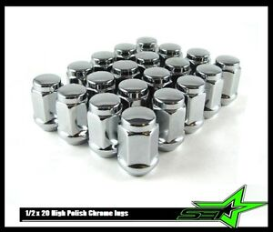 20 1 2 20 Stainless Steel Capped Bulge Acorn Lug Nuts 4 Trailer Wheels 1 2x20