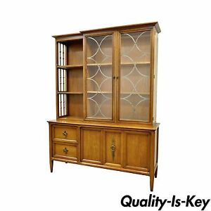 Vintage Mid Century Modern Century Furniture Walnut China Cabinet Bookcase