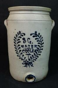 Rare Antique Stoneware 3 Gal Water Cooler Decorated In Cobalt Script Wow
