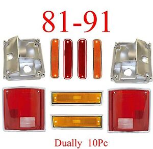 81 91 Chevy 10pc Dually Light Kit Gmc Front Fender Dually Fender Tail Light