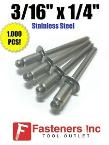qty 1 000 Pop Rivets All Stainless Steel 6 4 3 16 X 1 4 Grip total Qty 1000