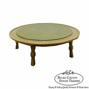 Romweber Viking Oak Round Leather Top Copper Bound Coffee Table