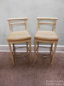 Quality Pair Of Faux Bamboo Crackle Paint Bar Stools
