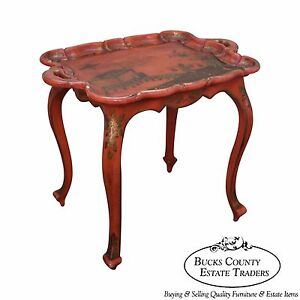 Hand Painted Chinoiserie Scalloped Top Side Table