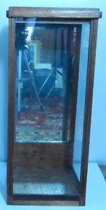 Antique Rare Wood Glass Showcase For Tall Item Removable Top 26 5 8 H