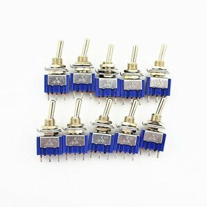 10pcs 3 Pin 2 Position On on Spdt Mini Latching Toggle Switch Ac 125v 6a 250v 3a
