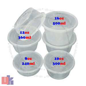 Clear Plastic Quality Containers Round Tubs W Lids Microwave Food Safe Takeaway