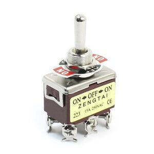 Momentary Dpdt on off on 3 Position 6pin Toggle Switch Ac 250v 15a