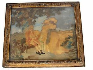 Antique 18th C Colifichet Embroidery Of A Man And 2 Ladies Original Frame