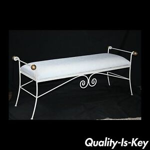 Vtg 54 French Styl White Gold Wrought Iron Window Bench Metal Hollywood Regency