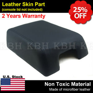 Fit 04 08 F150 Lariat Bucket Center Console Lid Leather Armrest Cover Seat Black