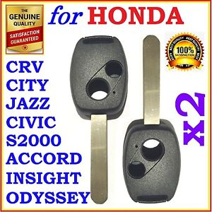 Fit Honda Accord Crv Civic City Jazz Odyssey S2000 Two Button Key Remote Shell
