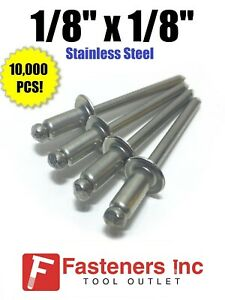 qty 10000 Pop Rivets All Stainless Steel 4 2 1 8 X 1 8 Grip Range