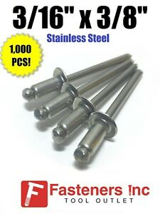 qty 1000 Pop Rivets All Stainless Steel 6 6 3 16 X 3 8 Grip Range
