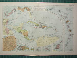1928 Map West Indies Central America Lesser Antilles Panama Jamaica Cuba Etc