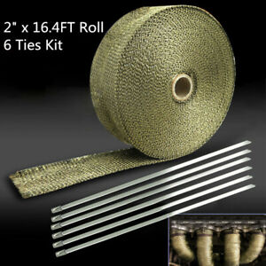 Titanium Exhaust Header Pipe Heat Wrap Tape 1 X 50 Roll W Stainless Ties Kit