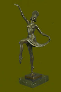 Signed Deco Russian Dancer Gift Decor Bronze Sculpture Marble Base Statue