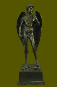 Bronze Sculpture Nude Naked Male Angel Masterpiece Cast Sculpture Figurine
