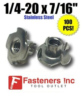 qty 100 1 4 20 X 7 16 Long Barrel Stainless Steel T nut Tee Nut 4 Prong