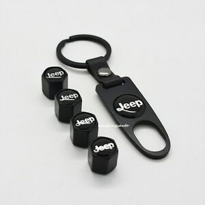 Black Car Wheel Tyre Tire Valves Dust Stems Air Caps Keychain Jeep