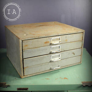 Vintage Industrial 4 Drawer Steel Parts Cabinet