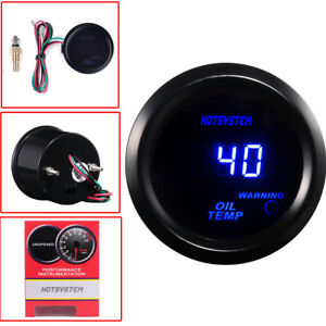 Hotsystem Universal Black 2 52mm Digital Led Oil Temp Temperature Gauge Meter