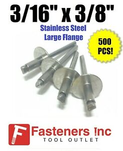 qty 500 3 16 X 3 8 Grip All Stainless Steel Large Flange Pop Rivet 66lf