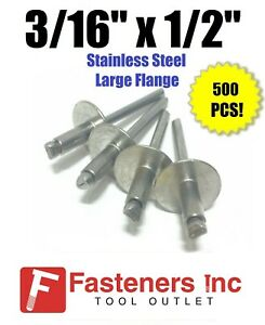 qty 500 3 16 X 1 2 Grip All Stainless Steel Large Flange Pop Rivet 68lf