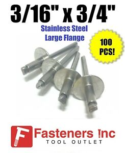 qty 100 3 16 X 3 4 Grip All Stainless Steel Large Flange Pop Rivet 612lf