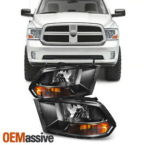 Fits Black 2009 2018 Dodge Ram 1500 2500 3500 Headlights Lamps Light Lh Rh Pair