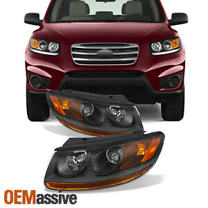 Fits 07 11 Santa Fe Headlights Driver Left passenger Right Replacement 2007 2011